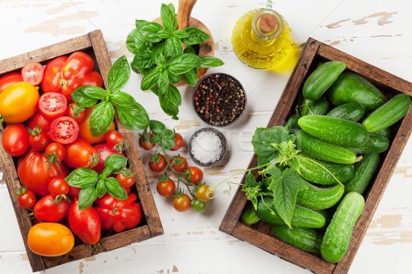 ストックフォト: 新鮮な · 庭園 · トマト · 胡瓜 · 料理 · 表