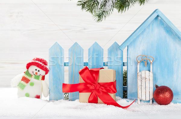 クリスマス ギフトボックス 雪だるま おもちゃ 支店 ストックフォト © karandaev