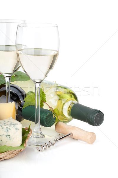 Witte wijn kaas druif geïsoleerd witte Stockfoto © karandaev