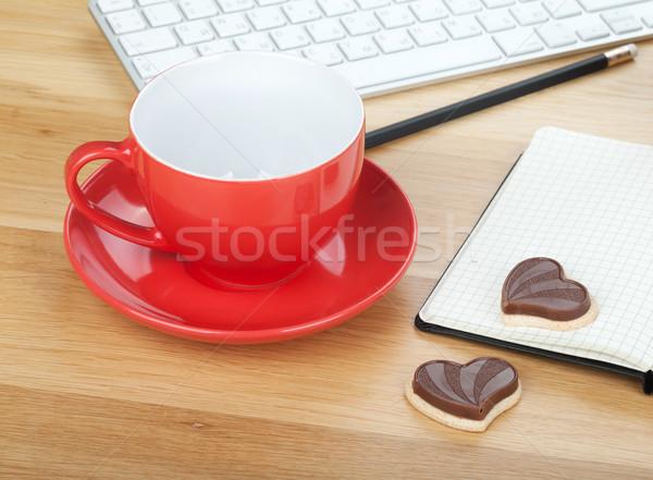 Stok fotoğraf: Kahve · fincanı · kurabiye · ahşap · masa · iş · ofis