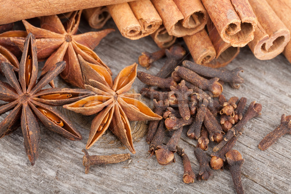 Anise, cinnamon and clove spices Stock photo © karandaev