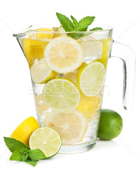 домашний лимонад изолированный белый фрукты лет Сток-фото © karandaev