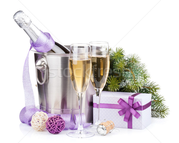 Christmas champagne in bucket and gift box Stock photo © karandaev