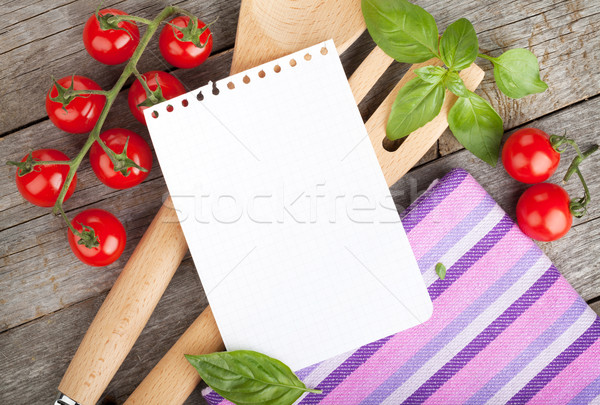 Blank notepad paper for your recipes with tomatoes and basil Stock photo © karandaev