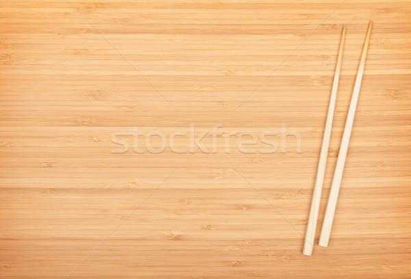Sushi Çin yemek çubukları bambu tablo bo Çin Stok fotoğraf © karandaev