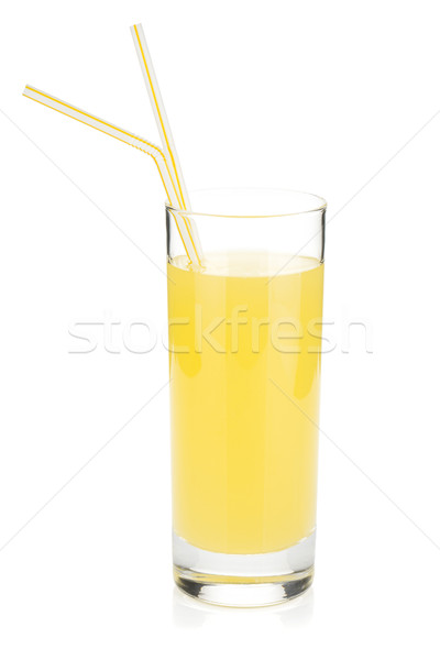 Lemon juice glass with two drinking straw Stock photo © karandaev