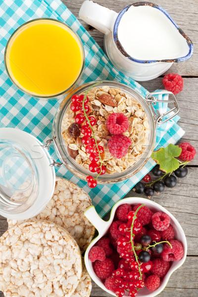 健康 朝食 ミューズリー 液果類 オレンジジュース ミルク ストックフォト © karandaev