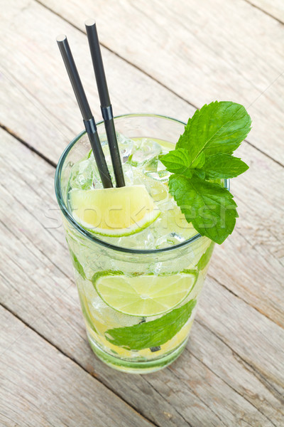Vers mojito cocktail houten tafel voedsel blad Stockfoto © karandaev