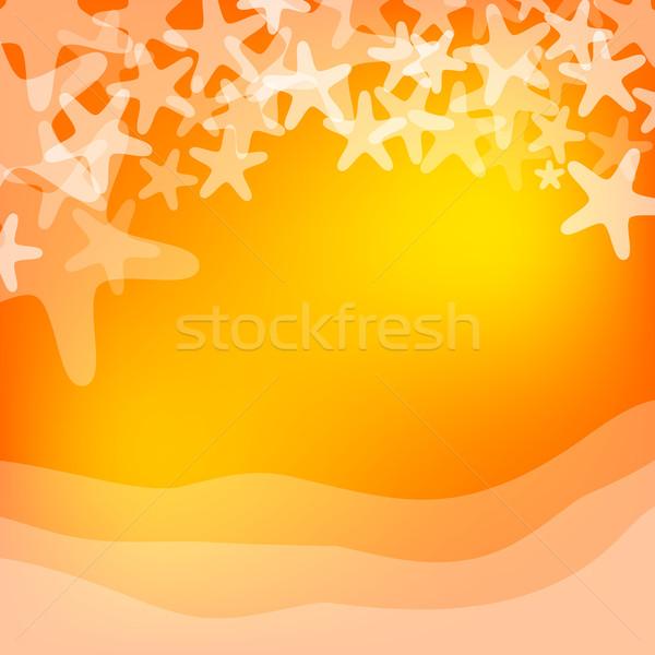 Oranje zee zeester illustratie witte natuur Stockfoto © karandaev