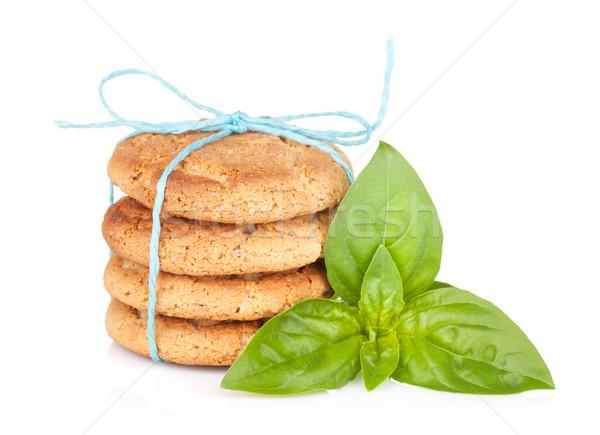 Stack of crackers with basil Stock photo © karandaev