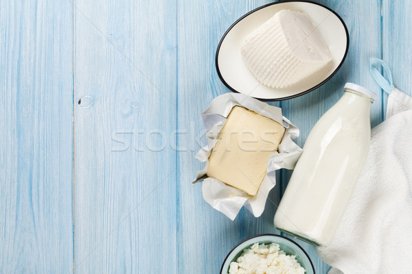 Dairy products. Milk, cheese, curd cheese and butter Stock photo © karandaev