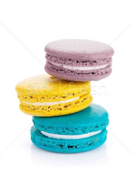 Coloré macaron cookies isolé blanche gâteau Photo stock © karandaev