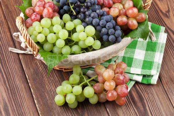 Stock fotó: Köteg · piros · lila · fehér · szőlő · kosár