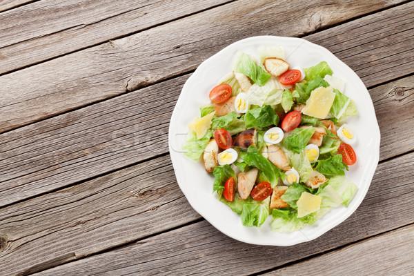 Taze sağlıklı salata ahşap masa üst görmek Stok fotoğraf © karandaev