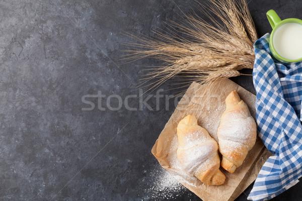 свежие круассаны молоко каменные таблице Top Сток-фото © karandaev