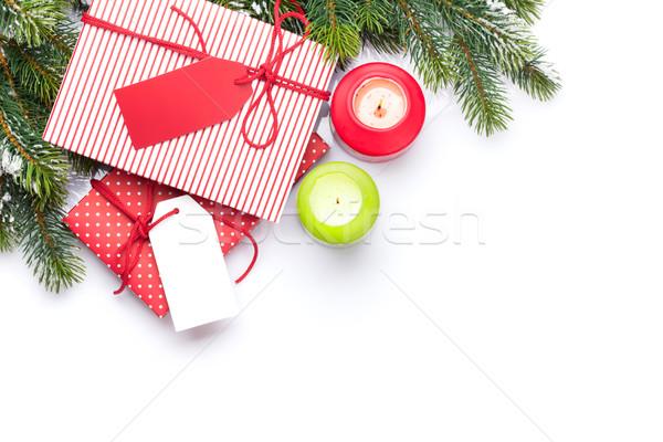 Noël coffrets cadeaux isolé blanche Photo stock © karandaev