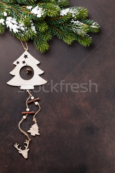 Noël neige pierre bois Photo stock © karandaev