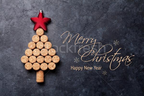 Wijn kerstboom steen tabel top Stockfoto © karandaev