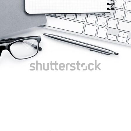 Stock fotó: Irodai · asztal · fehér · számítógép · készlet · felső · kilátás