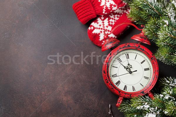 Foto stock: Navidad · tarjeta · de · felicitación · navidad · nieve · despertador