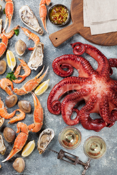 Seafood and wine. Octopus, lobster, shrimps Stock photo © karandaev
