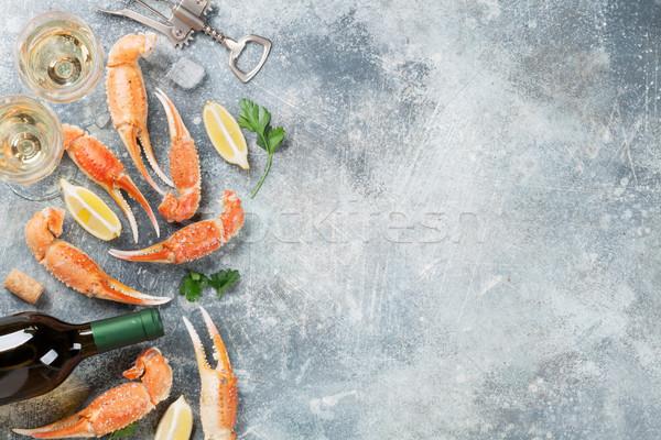 Fruits de mer vin blanc homard haut vue Photo stock © karandaev