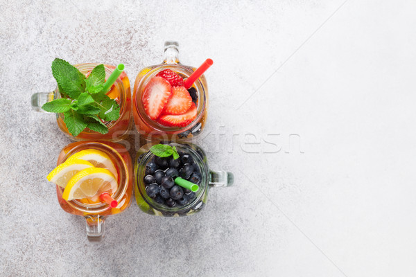 Stock photo: Fresh lemonade jar
