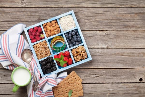 健康 朝食 ミューズリー ミルク セット 液果類 ストックフォト © karandaev