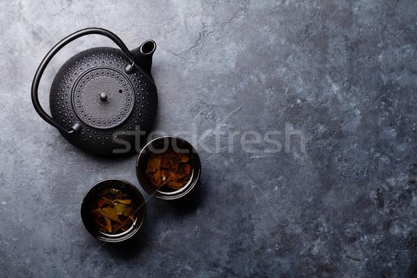 Stock fotó: Teáscsészék · teáskanna · felső · kilátás · űr · ital
