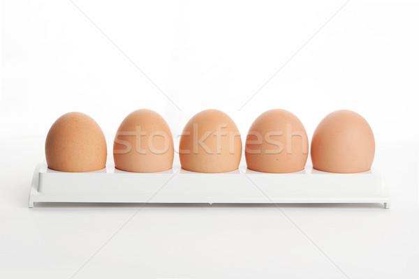 the hen's eggs in egg holder Stock photo © karandaev