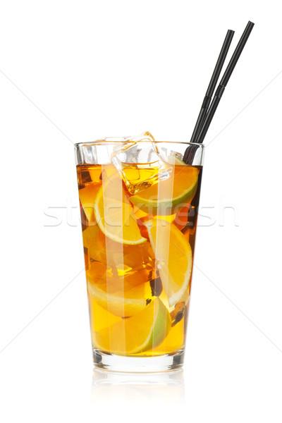 Foto d'archivio: Vetro · tè · freddo · limone · calce · isolato · bianco
