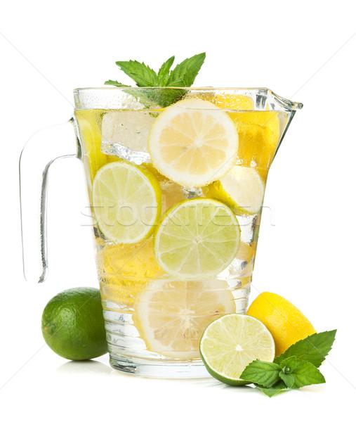 Házi készítésű limonádé izolált fehér étel gyümölcs Stock fotó © karandaev