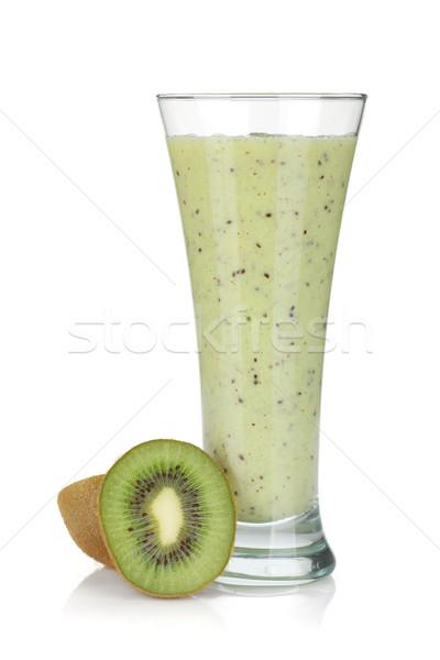 Kiwi tej smoothie izolált fehér buli Stock fotó © karandaev