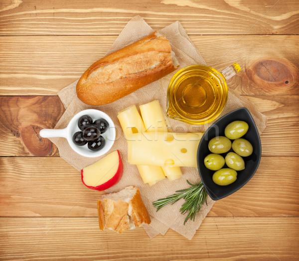 Stockfoto: Olijven · kaas · brood · groenten · specerijen · koken