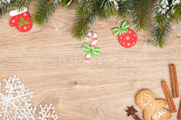 Karácsony fenyőfa mézeskalács süti dekoráció fából készült Stock fotó © karandaev