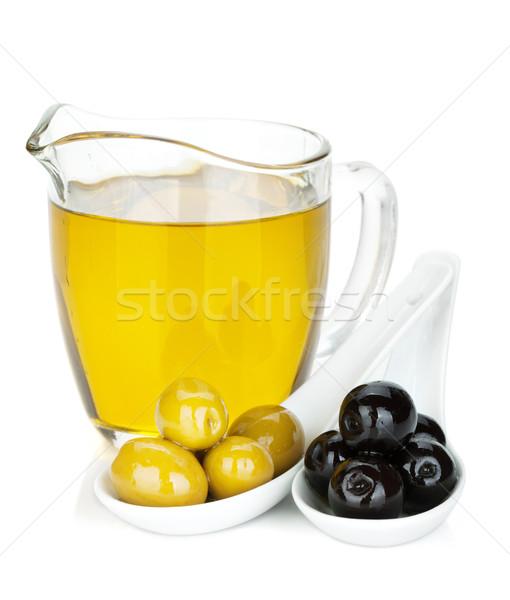 Yeşil siyah zeytin zeytinyağı yalıtılmış beyaz gıda Stok fotoğraf © karandaev
