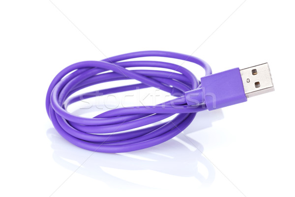 Fioletowy kabel komputerowy odizolowany biały Internetu technologii Zdjęcia stock © karandaev