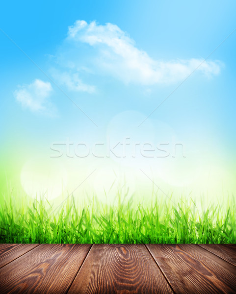 Stock photo: Summer background with floor, grass and bokeh