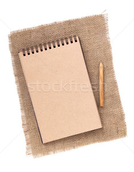 Papel pardo bloco de notas lápis pano de saco isolado branco Foto stock © karandaev