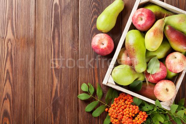 Birnen Äpfel Holz Feld Tabelle top Stock foto © karandaev