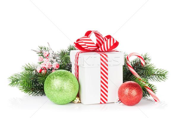Weihnachten Geschenkbox candy Zuckerrohr isoliert weiß Stock foto © karandaev