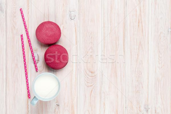 カラフル マカロン カップ ミルク 白 木製のテーブル ストックフォト © karandaev