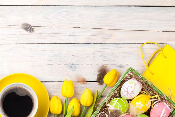 ストックフォト: イースター · カラフル · 卵 · 黄色 · チューリップ · 白