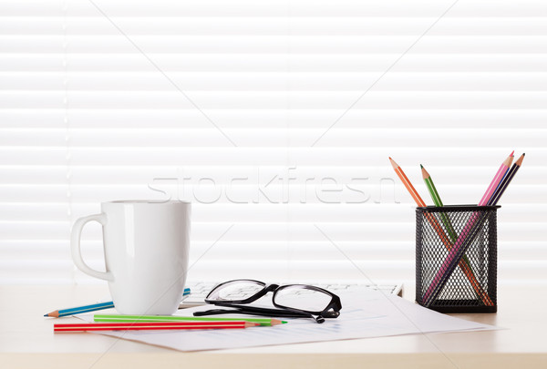 Office desk workplace with supplies Stock photo © karandaev