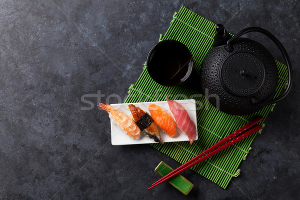 Ingesteld sushi groene thee steen tabel top Stockfoto © karandaev