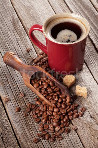 Stok fotoğraf: Kahve · fincanı · fasulye · esmer · şeker · ahşap · masa · gıda · kahve