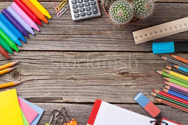 学校 事務用品 木製のテーブル コピースペース ビジネス ストックフォト © karandaev