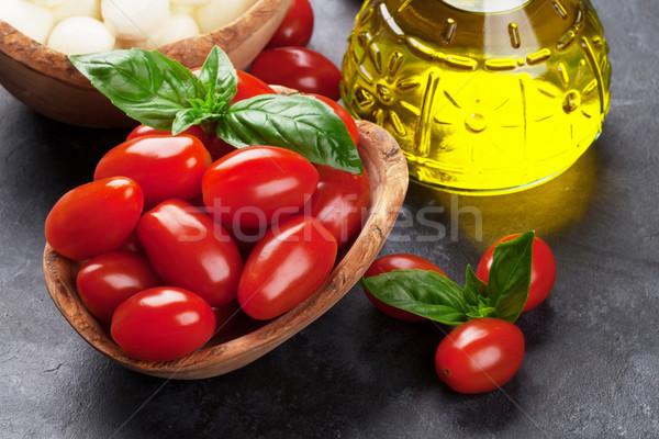 Mozzarella peynir domates fesleğen kiraz domates ot Stok fotoğraf © karandaev