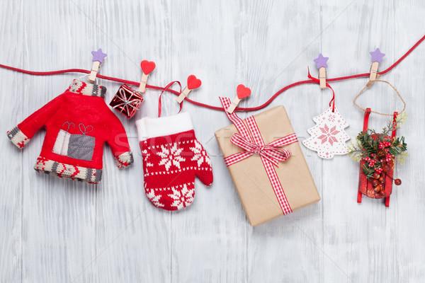 Christmas geschenkdoos touw houten hout Stockfoto © karandaev