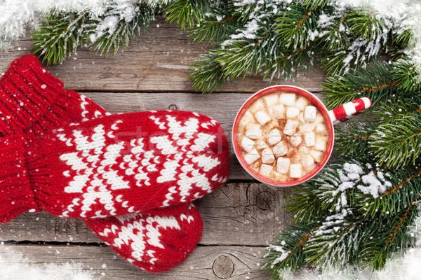 Stock fotó: Karácsony · fenyőfa · ujjatlan · kesztyűk · forró · csokoládé · mályvacukor · felső